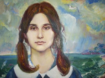 Портрет на Петя Дубарова 1986г, худ.Георги Златанов,маслени бои - Къща музей Петя Дубарова - Бургас